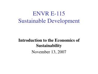 ENVR E-115 Sustainable Development