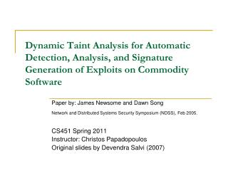 Paper by: James Newsome and Dawn Song