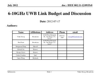 6-10GHz UWB Link Budget and Discussion