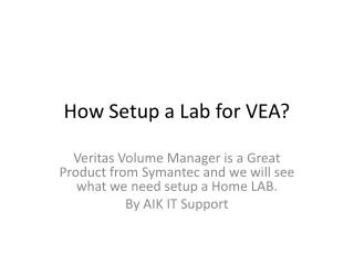 How Setup a Lab for VEA?