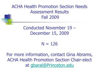 HEALTH PROMOTION NEEDS ASSESSMENT FALL2009