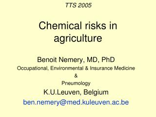 TTS 2005 Chemical risks in agriculture