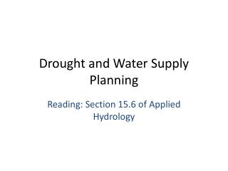 Drought and Water Supply Planning