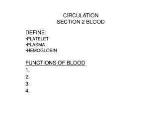 CIRCULATION SECTION 2 BLOOD