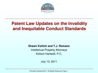 Patent Law Updates on the Invalidity and Inequitable Conduct Standards