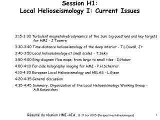 Session H1: Local Helioseismology I: Current Issues