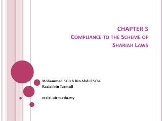 CHAPTER 3 Compliance to the Scheme of Shariah  Laws