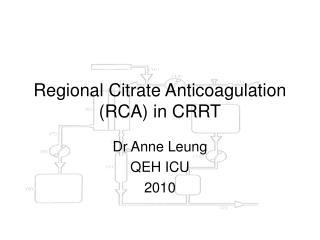 Regional Citrate Anticoagulation RCA in CRRT