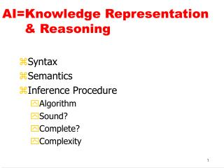 AI=Knowledge Representation       	& Reasoning