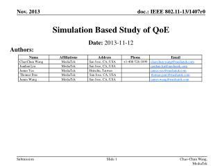 Simulation Based Study of  QoE