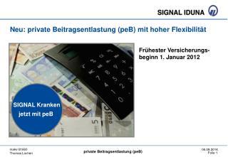 Neu: private Beitragsentlastung (peB) mit hoher Flexibilität
