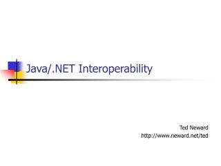 Java/.NET Interoperability