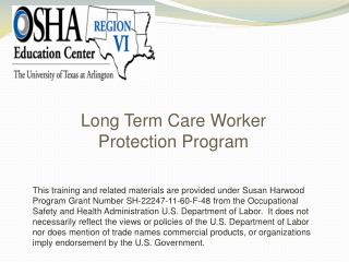 Long Term Care Worker  Protection Program