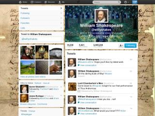 William Shakespeare @ willyshakes Writes the occasional story and poem