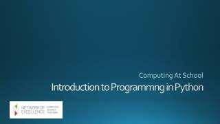 Introduction to  Programmng  in Python