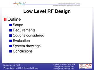 Low Level RF Design