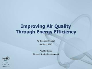 Improving Air Quality  Through Energy Efficiency