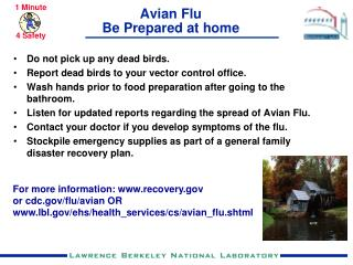 Avian Flu Be Prepared at home