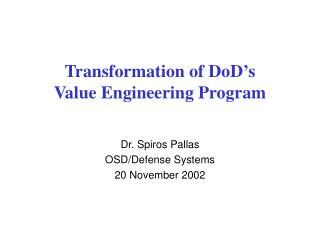 Transformation of DoD's Value Engineering Program