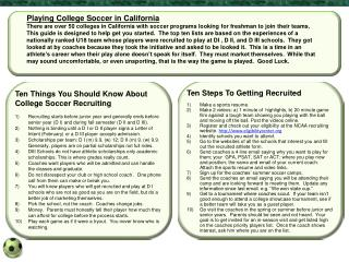 Playing College Soccer in California