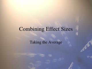 Combining Effect Sizes