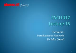 CSCI1412 Lecture  15