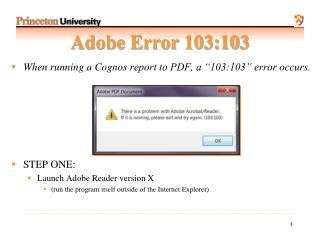 Adobe Error 103:103