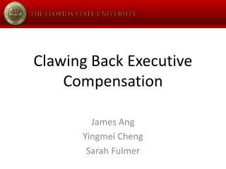 Clawing Back Executive Compensation