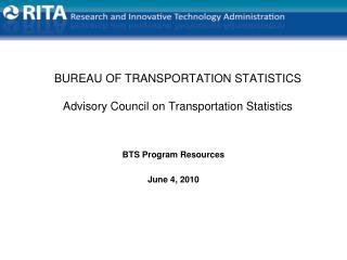 BUREAU OF TRANSPORTATION STATISTICS Advisory Council on Transportation Statistics