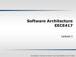 Software Architecture EECE417