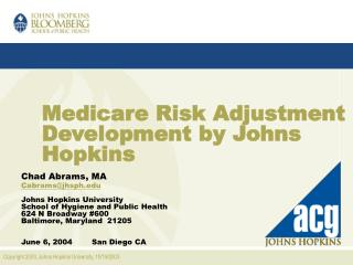 Medicare Risk Adjustment Development by Johns Hopkins