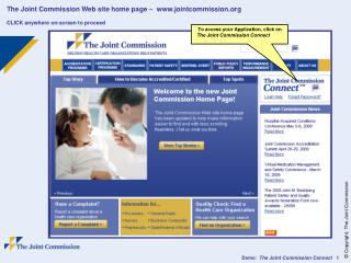 The Joint Commission Web site home page –  jointcommission