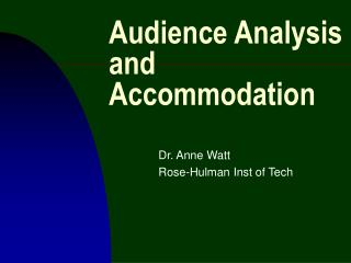 Audience Analysis and Accommodation
