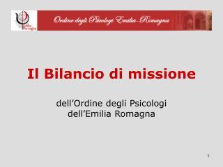 Il Bilancio di missione dell'Ordine degli Psicologi  dell'Emilia Romagna
