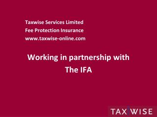 Taxwise Services Limited Fee Protection Insurance taxwise-online