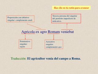 Traducción: El agricultor venía del campo a Roma.