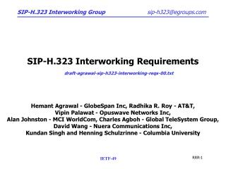 SIP-H.323 Interworking Requirements