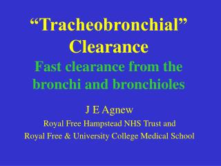 """Tracheobronchial"" Clearance Fast clearance from the bronchi and bronchioles"