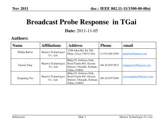 Broadcast Probe Response  in TGai