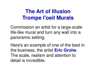 The Art of Illusion  Trompe l'oeil Murals