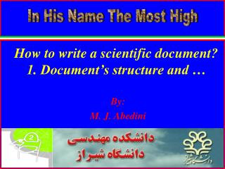 How to write a scientific document? 1. Document's structure and …