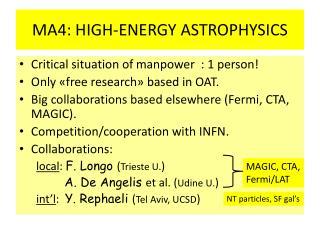 MA4: HIGH-ENERGY ASTROPHYSICS