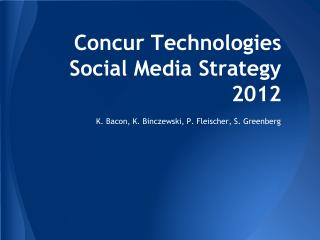 Concur Technologies Social Media Strategy 2012