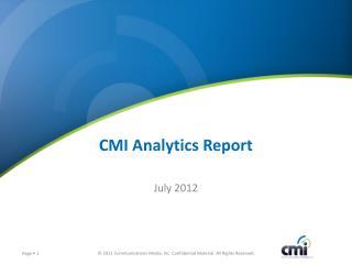 CMI Analytics Report