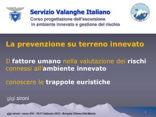 Servizio Valanghe Italiano Corso progettazione dell'escursione