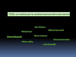 TOSS: un modulo per la caratterizzazione del  noise  sismico
