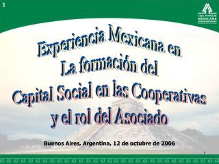 Experiencia Mexicana en La formación del Capital Social en las Cooperativas y el rol del Asociado