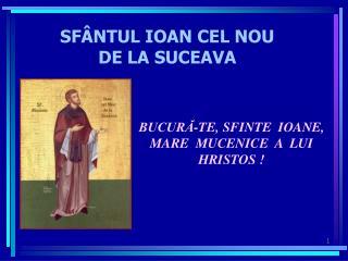 SFÂNTUL IOAN CEL NOU  DE LA SUCEAVA