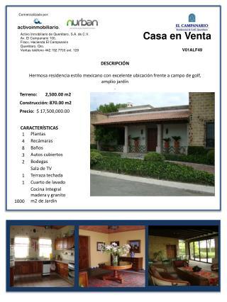 Activo Inmobiliario de Querétaro, S.A. de C.V. Av. El Campanario 100,