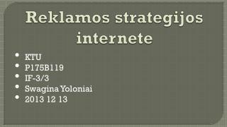 Reklamos strategijos internete